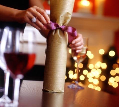 wine bottle wrapped
